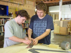 Ian and Connor building the racetrack